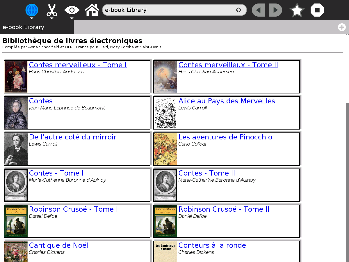 La librairie d'ebook OLPC France
