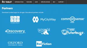 Les partenaires de la XO Tablet