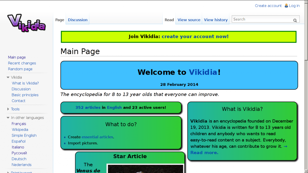 Homepage of Vikidia EN